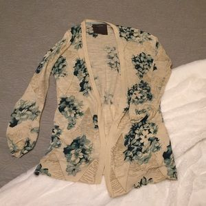 XS Anthropologie floral cardigan with gold accents